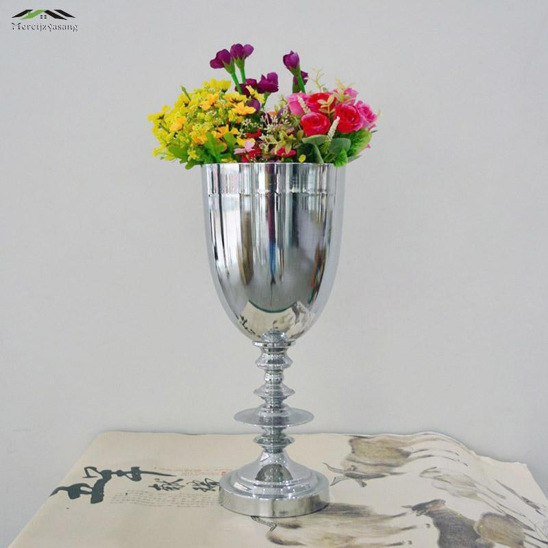 de metal de plata florero de la boda centro de mesa para mariage de metal florero