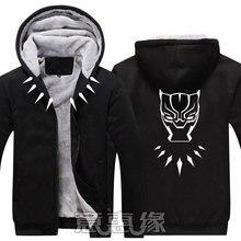 New Black Panther Hoodie Anime Coat Jacket Winter Men Thick Zipper Sweatshirt