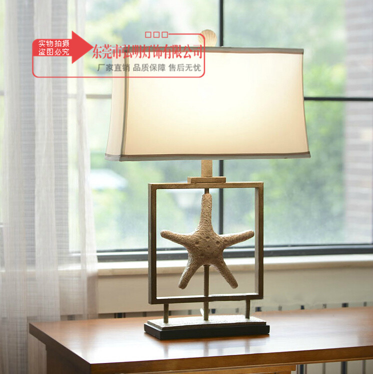 Spirited Tuda American Style Star Table Lamps For Living Room Bedroom Bedside Lamp Retro Ocean Series Imitation Old White Starfish Lamp