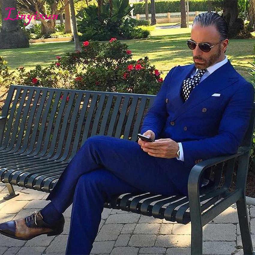 Linyixun строгий Королевский синий костюм мужской смокинг жениха Slim Fit двубортный Блейзер Выпускной из 2 предметов Свадебные костюмы (пиджак + брюки)