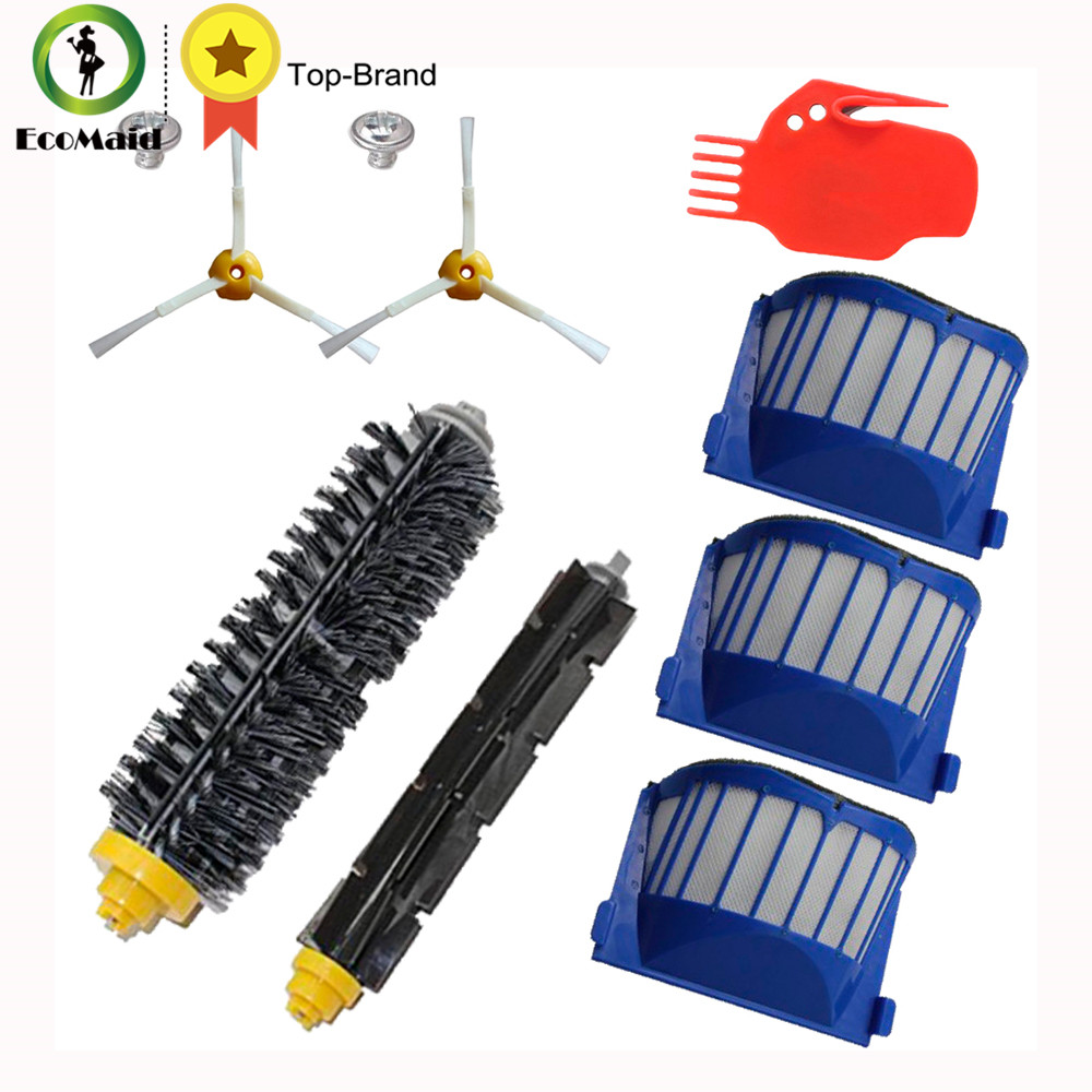 Kit for irobot Roomba 500 600 series Vacuum Cleaner Replacement Filter 3-arm Side Brush Bristle Brush Beater Brush Cleaning Tool 3 armed side brush flexible beater brush bristle brush filter for irobot roomba 500 series vacuum cleaner accessory kit
