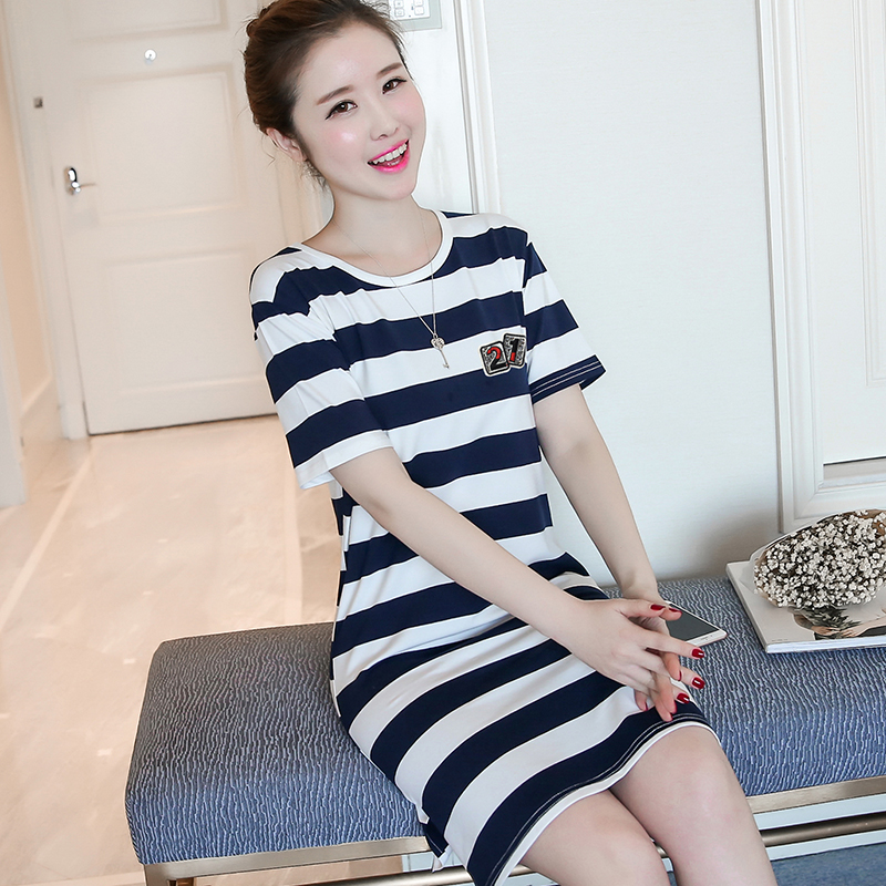 2b58e912fc936 US $21.05 |2017 Stylish Summer Women Strip Dresses with Letters Female  Girls Casual O neck New Lanon Robes for Party Birthday B9W XS S M L-in  Dresses ...
