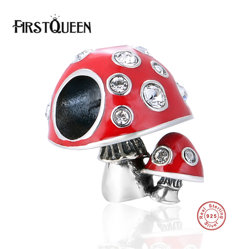 FirstQueen Pure 925 Sterling Silver Charms Red Enamel Mushroom Beads Fits Original Charm Bracelet DIY Making Women Jewellery