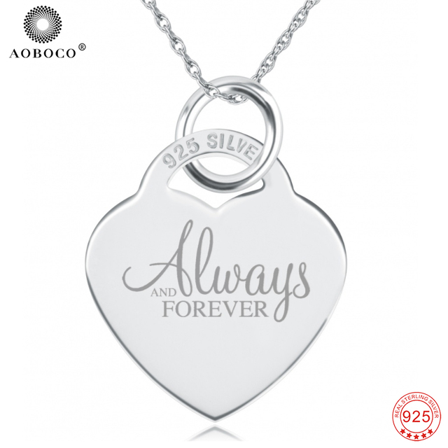 c136f7bbee655a Custom Engraved Necklace, 100% Fine 925 Sterling Silver 'Always And  Forever' Pendants
