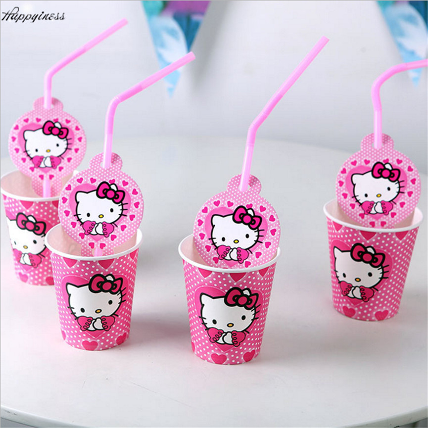 Hot 20pcslot Hello Kitty Party Supplies Paper Cupstraws Cartoon