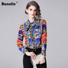 2018 New Designer Tops High Quality Runway Shirt Women Long Sleeve Shirts Fashion Printed Vintage Blouse Womens Tops And Blouses