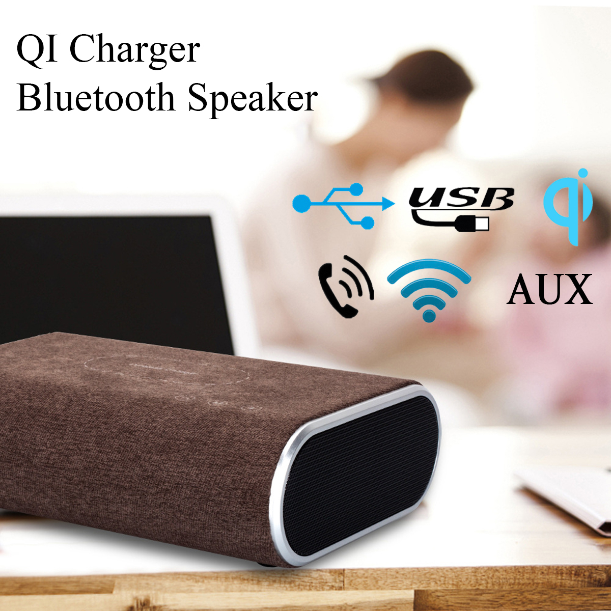 Super Bass Bluetooth Speaker QI Wireless Charger Mount Pad Bluetooth 4.1 Sound Bar AUX Mobile Phone Charging Charger for Samsung super mini universal qi standard wireless charger charging plate hyacinth