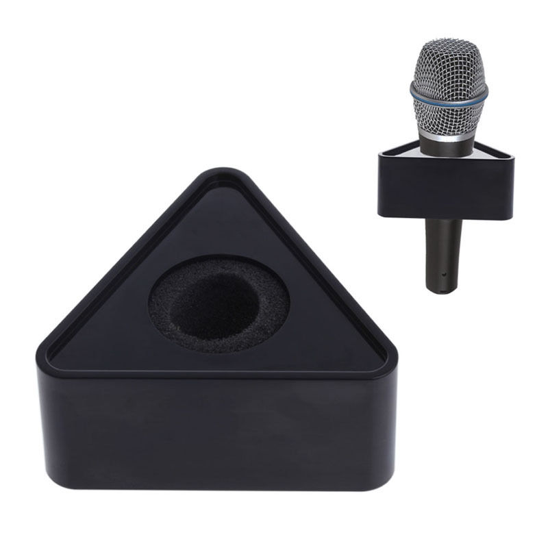 OOTDTY ABS Plastic Microphone Interview Triangular Logo Flag Station Black/White Durable