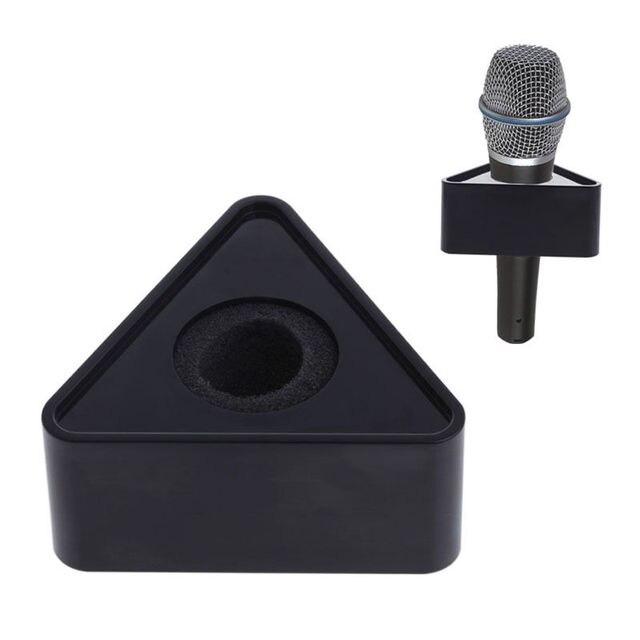 OOTDTY ABS plastica microfono intervista triangolare Logo Flag Station nero/bianco durevole