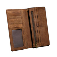 Brand Vintage Genuine Leather Men Wallet High Large Capacity Long Card Purse Crazy Horse Genuine Leather