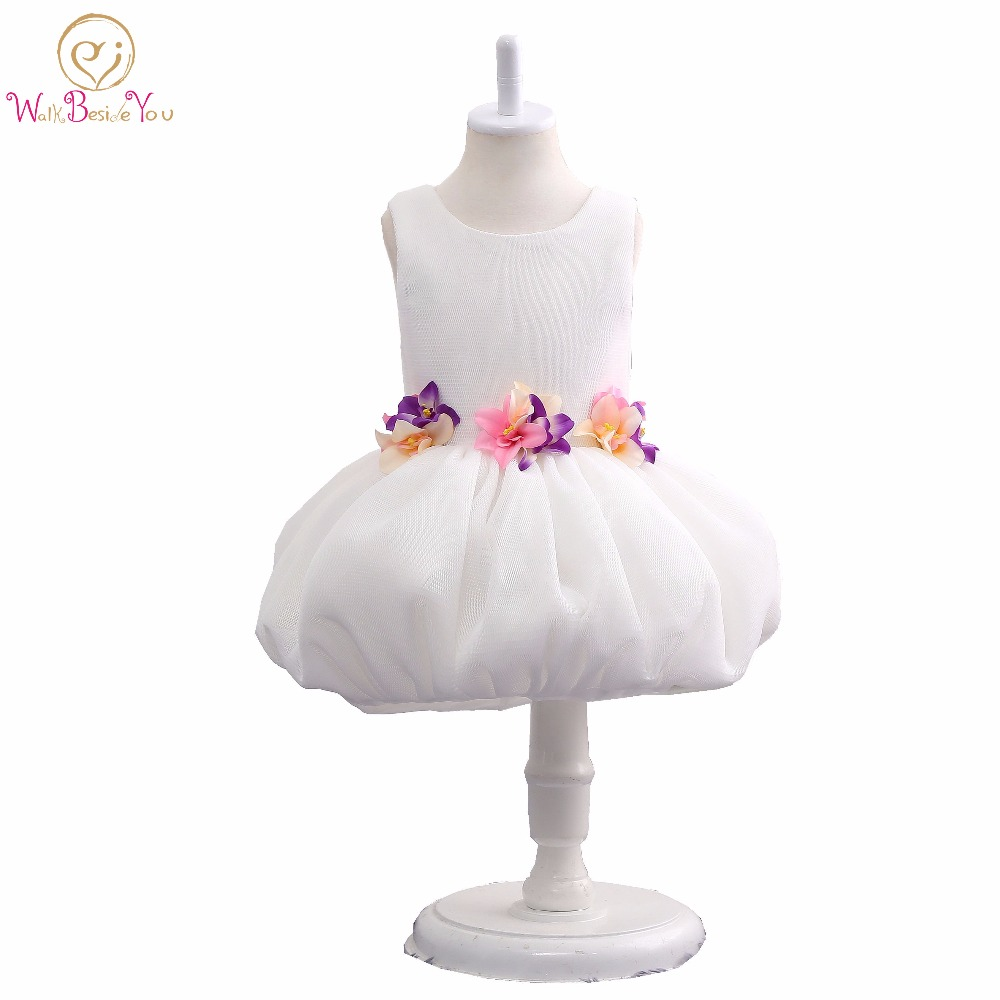 Graduation Dresses Kids Ballet Skirt Floral O-neck Ball Gown Flower Girl Gowns Children Communion Dresses In Stock