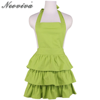Neoviva Solid Green Thick Canvas Apron for Hostess Vintage Ruffles Plus Size Style Susan Sleeveless Girls Skirt Eco Aprons Maid