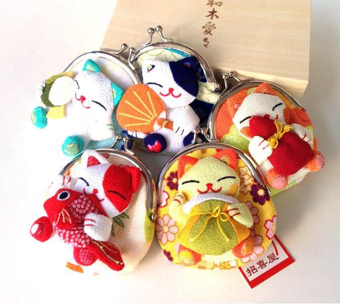 32 pieces Japan Japanese kimono Lucky Cat fish Coin Purse Wallet Coin Bag Purse Silk