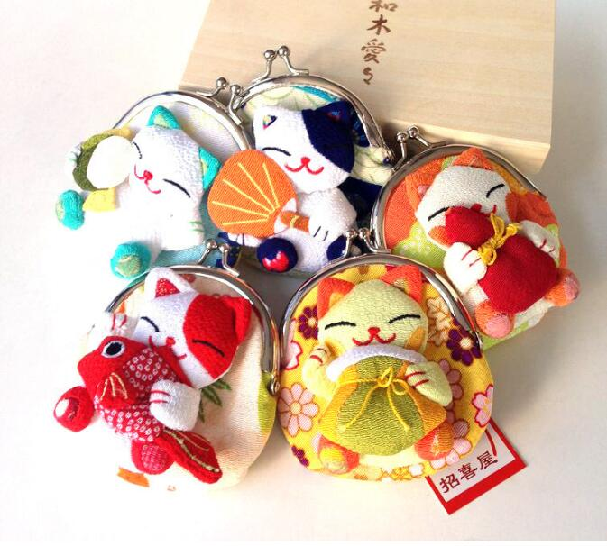32 pieces Japan Japanese kimono Lucky Cat fish Coin Purse Wallet Coin Bag Purse Silk in Coin Purses from Luggage Bags