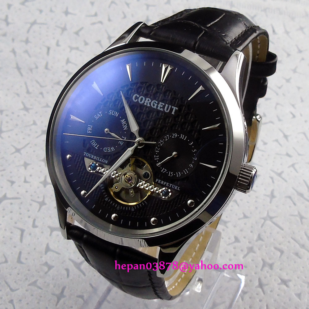цены 44mm Corgeut Black dial silver hands Domed glass date&week Multifunction Automatic movement men's watch P209