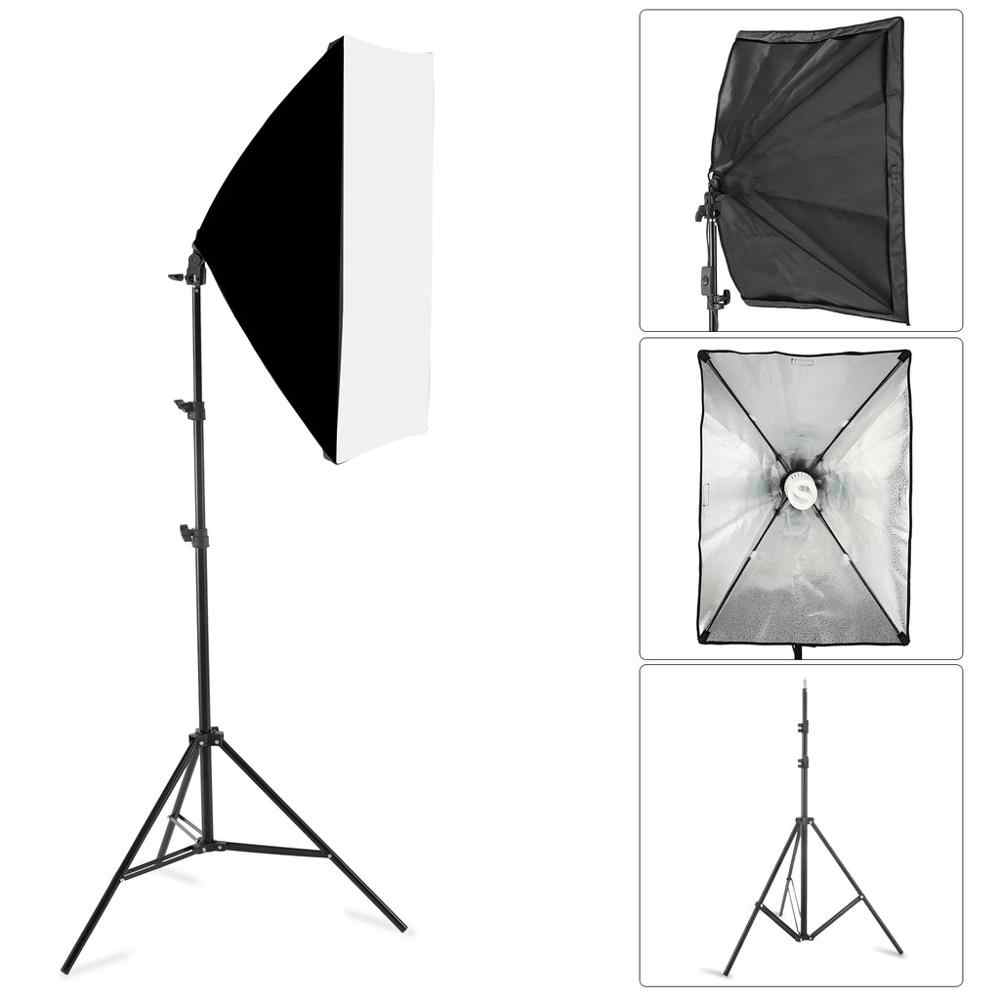 Photography Lighting Accessories 50*70CM Softbox Lightbox With E27 Socket Lamp Holder + 2m Light Stand Photo Studio softbox Kit