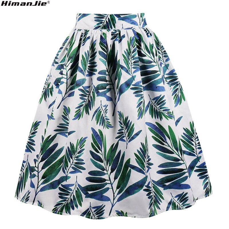 23577bbf7a9 Vintage Women Green Skirt Banana Tree Leaf Print Ball-gown Elegant Skirts  All Match Fashion