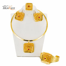 MUKUN Top quality Dubai Gold-color Jewelry Set For Women African Ethiopian Jewelry Antique Coin Bracelet Earrings Necklace Set(China)