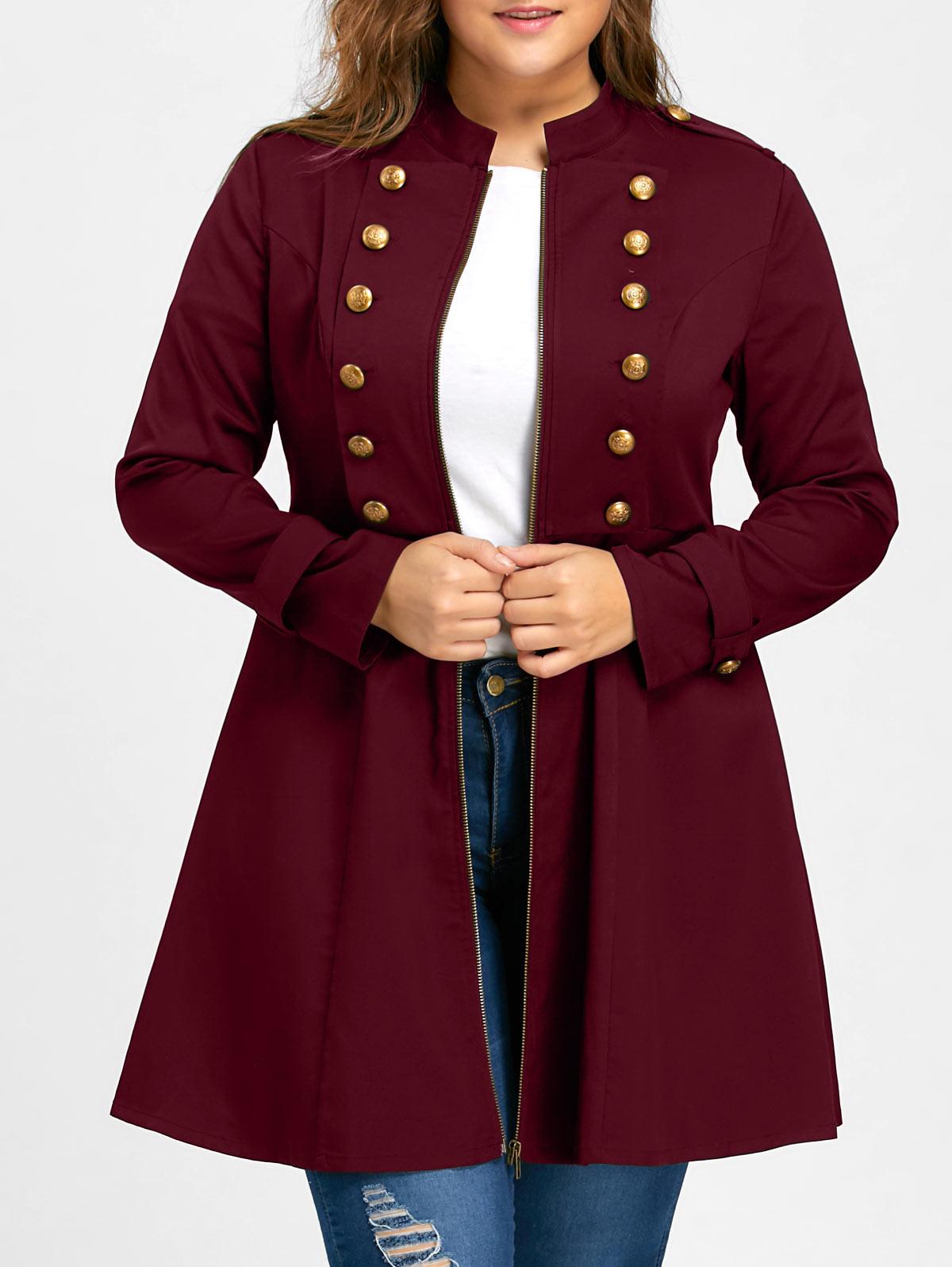 Gamiss frauen winter mode Zweireiher Flare Mantel Mädchen Große Größe Übergroßen Schwarz Metall Taste Graben Plus Größe XL-5XL