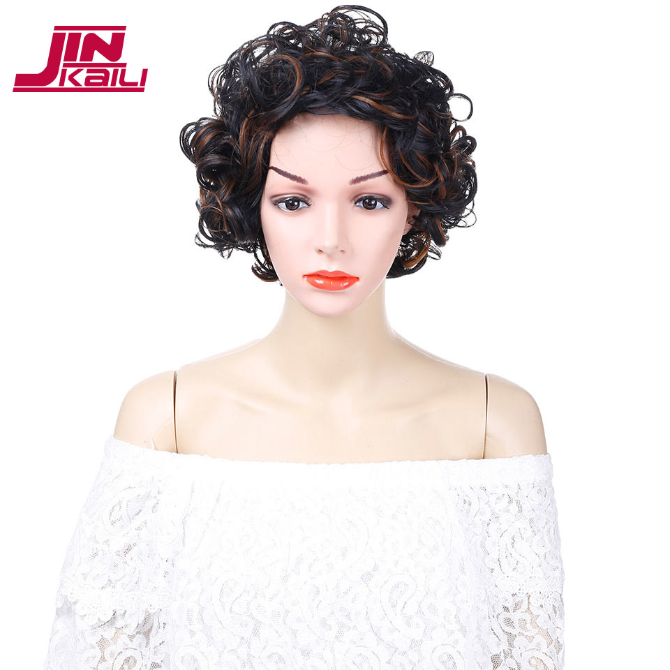 JINKAILI WIG Short Afro Kinky Curly Mixed Brown Synthetic Wigs African Hairstyles Wigs for Black Women