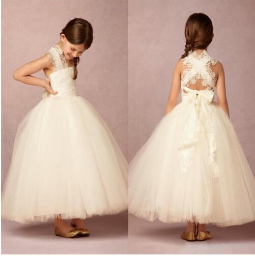 все цены на New Ankle Length Flower Girl Dresses Appliques Sleeveless Ball Gown Communion Gowns Vestidos Longo White Ivory онлайн