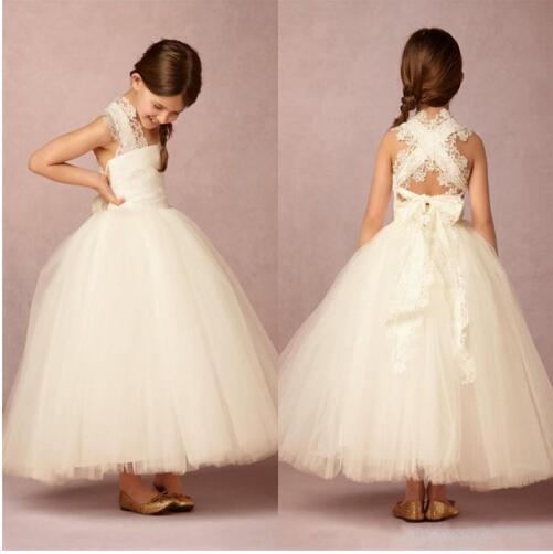 New Ankle Length Flower Girl Dresses Appliques Sleeveless Ball Gown Communion Gowns Vestidos Longo White Ivory все цены