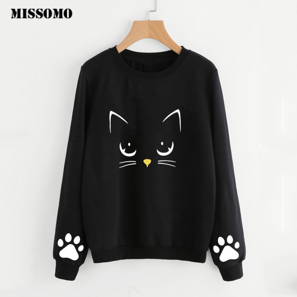 MISSOMO Clothes Women Sweatshirts Cat Weater Round Neck Long Sleeve Blouse Crop Top Sweatshirt Kawaii Tops Harajuku Streetwear