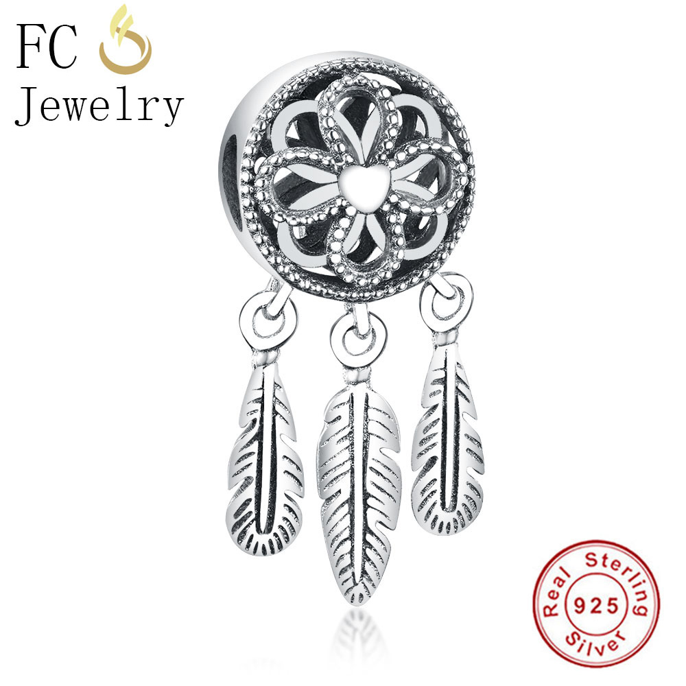 FC Jewelry Fit Original Pandora Charms Bracelets 925 Sterling Silver Dreamcatcher Spirit Feather Beads for DIY Making Berloque