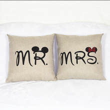 Linen Cartoon Couple Lover Mr & Mrs Cushions cover Without Core European Decorative pillowcases Office Chair pillow cover