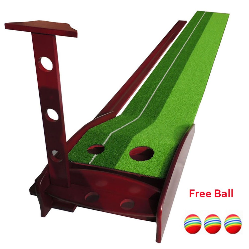 30X300CM Wood Indoor Golf Putting Trainer Professional Practice Set Training Mat Mini Golf Putter Green with Fairway Free Ball simulation mini golf course display toy set with golf club ball flag