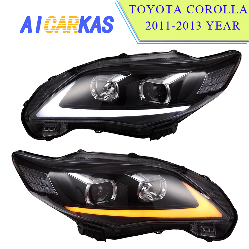 1 Set Headlight Assembly for Corolla 2011 LED Daytime Running Light HID Bi-Xenon Project Lens DRL Fog Driving Light Corolla 2011 ...