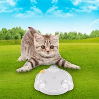 Newest Electric Mouse Plate Cats Scratch Board Pet Toy Cat Teaser Turntable Mice Toys for Cats Kitten(Delivered Without Battery)