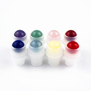 Image 2 - 1 pc 厚い 10 ミリリットルすりガラスロールボトルに天然宝石ローラーボールエッセンシャルオイルバイアル空詰め替え香水ボトル