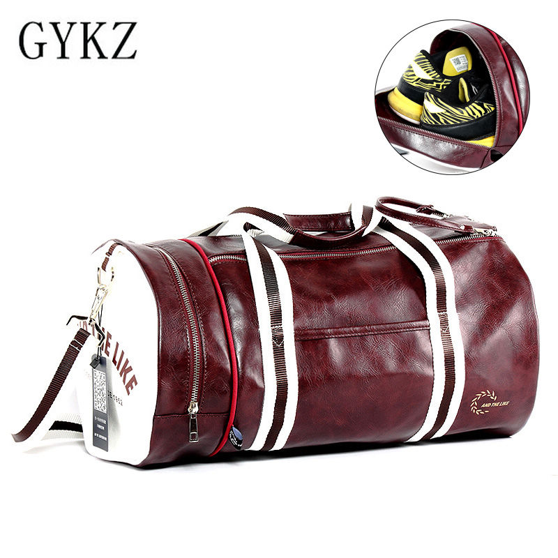 GYKZ Portable Outdoor Training Shoulder Bags Large Capacity Sport Gym Bag Fitness Bag For Women And Men Leather Duffle Bag HY034 все цены
