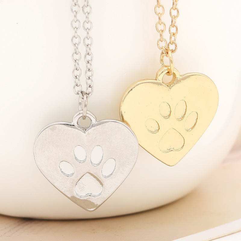10PCS/lot Gold Silver Dog Paw Print Heart Necklace Pet Puppy Bear Cat Love Paw Necklaces Animal Palm Paw Mark Print Necklaces