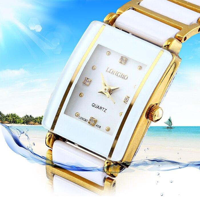 LONGBO Luxury Whtie And Gold Ceramic Fashion Rhinestone Sports Wrist Watch,Quartz Gift Watch Women Dress Relogio Feminino