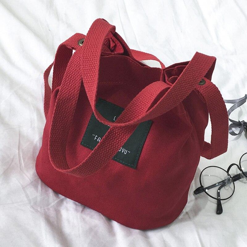 Small Top-handle Bags Women Handbags Canvas Fashion Sac A Main For Ladies Bucket Sac Mini Purse Women Cross-body Shoulder Bag