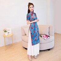 2018 Cheongsam Top Vietnam Aodai Chinese Qipao Long Traditional Chinese Dresses Robe Orientale Collars Retro Dressing Gown