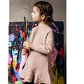 2016 Crianças de Moda Meninas Vestido De Camisola de Malha Roupas de Inverno Crianças Menina Meninas Do Bebê O-pescoço Roupas de Manga Longa Com Pérolas