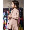 2016 Niños Niñas de la Moda de Punto Vestido de Suéter de Invierno Muchacha de Los Cabritos Ropa de los Bebés Ropa Del O-cuello de Manga Larga Con Perlas