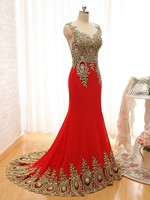 Elegant 2017 New Design Gold Embroidery Mermaid Evening Dresses Black Red Lace Evening Gowns Patterns Formal