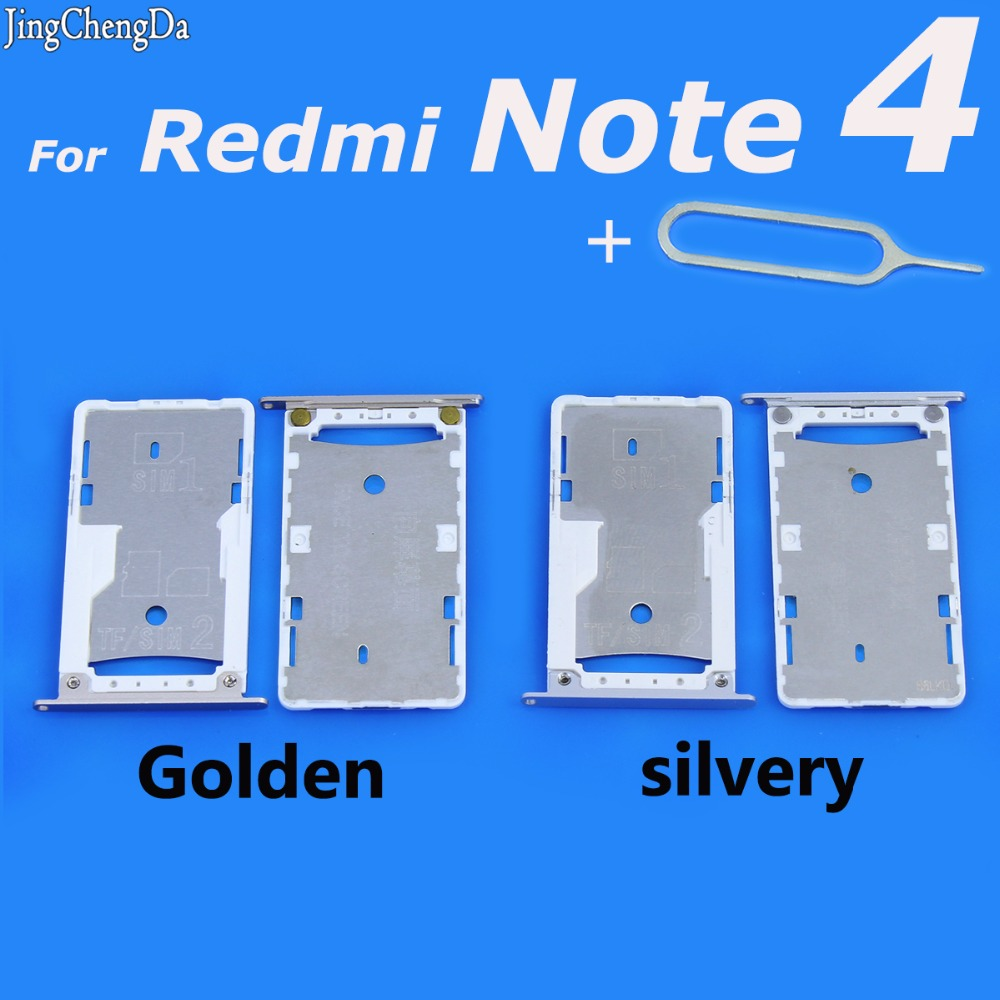 Jing Cheng Da Micro Sim Card Tray For Xiaomi Redmi Note 4 SD Memory Card Slot Holder Tray Replacement Parts Golden/silvery