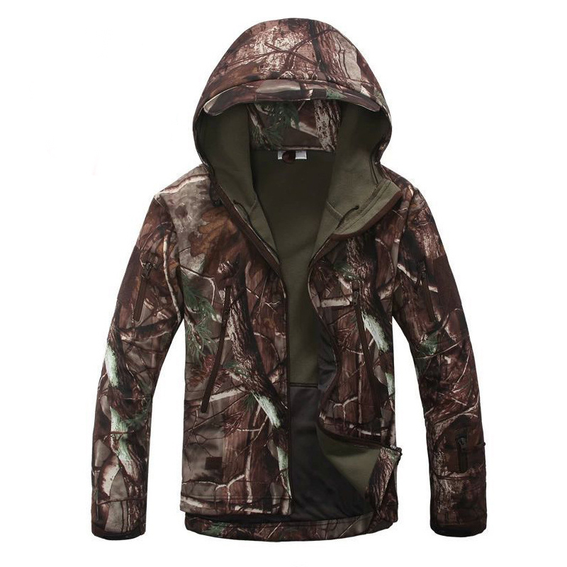 Hunting Coat Hooded Shark-Skin Softshell Military Tactical Outdoor Camo Army Lurker Man