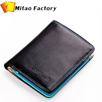 Brand Wallet 2016 MONTHAUS Genuine Leather Male Wallet Short Design First Layer Cowhide Purse Horizontal Vintage Men Bag