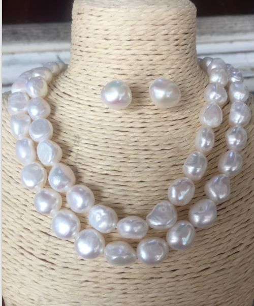 double strands baroque south sea 11 12mm white pearl necklace18 19 earring925silver