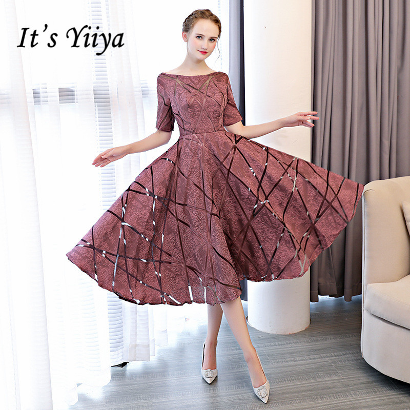 It's YiiYa Luxury O Neck Half Sleeve Embroidery Zipper Cocktail Dresses A line Tea Length Formal Dress LX465