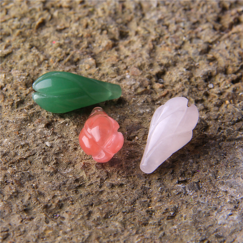 1pc 22*10mm Natural Gem Jad e Flower Olay Bud Pendant Green Pink 3D Carven Jad e Charms Necklace Charms DIY Jewelry Making