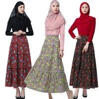 2017 New Summer Autumn Muslim Indonesia Malay Muslim Hui Long Floral Chiffon Skirt mopping pendulum Dresses Vestidos Mujer