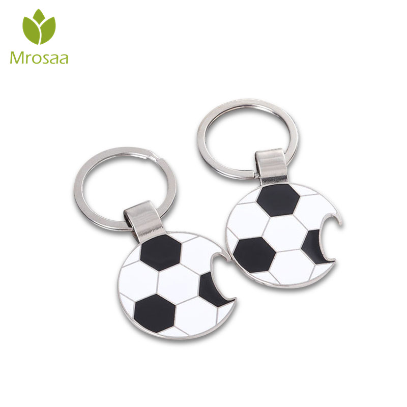 Newest 1pc Portable Metal Beer Bottle Opener Keychains Football Soccer Key Rings Fans Souvenir Car Key Holder Kitchen Bar Tool