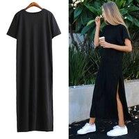 [TWOTWINSTYLE] Autumn Basic Side High Slit Long T shirt Women Sex Dress Short Sleeves Black New Fashion Clothing